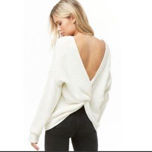 NWT white chenille twist back sweater